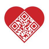 Artistic love QR Code — Stock Vector