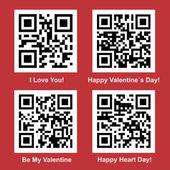 Love QR Code vector set — Stock Vector