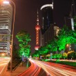 Far East Holiday Night Light trace modern architecture — Stock Photo