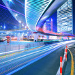 Stock Photo: City ring road light trails night in Shanghai