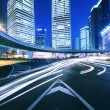 City ring road light trails night in Shanghai - Stock Photo