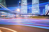 Dazzling rainbow overpass highway night scene in Shanghai — Stock Photo