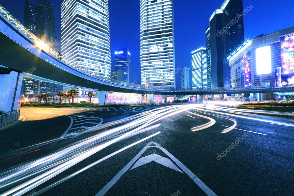 Ring Highway at night with light trails in shanghai China  Stock Photo #8892414