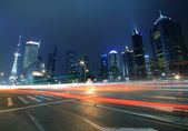 Megacity Highway at night dusk light trails in shanghai China — Stock Photo