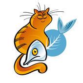 Кошка и рыбья кость — Cтоковый вектор