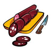 Sliced Smoked Sausage — Stock Vector