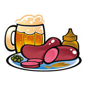 German Sausages and beer — Stock Vector