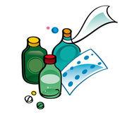 Medicine - mixtures, pills, ampules, cure — Stock Vector