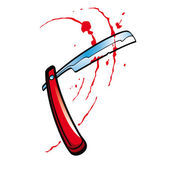 Red Straight Razor blade with splashes of blood — Stockvector