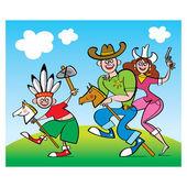 Familienspiel - Eltern-Cowboys und kleinen indischen Jungen — Stockvektor