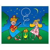 романтический вечер два маленьких любителей природы ночь серенада — Cтоковый вектор