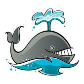 Whale in the sea or ocean fountain fish mammal — Stock Vector