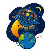 Flying ufo med utlänningar under jorden utrymme galaxen vetenskap planet moon — Stockvektor
