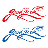 Good Luck bird wing wish farewell greeting signature — 图库矢量图片