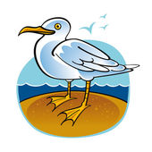 Sea Gull bird ocean beach fauna nature — Stock Vector