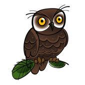 Owl bird fauna tree forest night — Stock Vector
