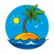 Uninhabited Island nature sea ocean palm sun lonelyness alone — Stock Vector