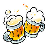 Beer Mugs drink alcohol pub party — Stock Vector