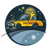 Taxi amarillo auto coche máquina servicio transporte tráfico en taxi — Vector de stock