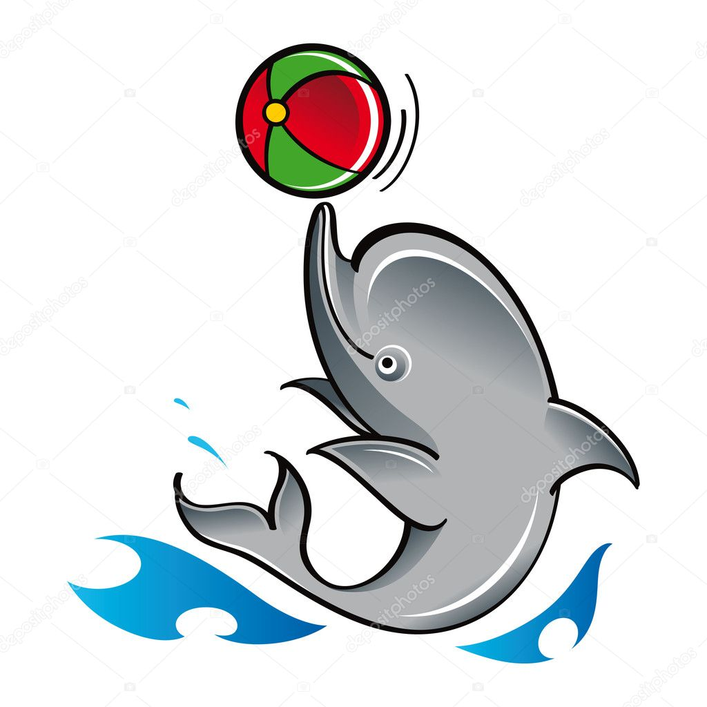 Dolphin with ball play game fish mammal sea ocean zoo — Stock Vector #8406044