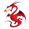 Red Dragon mythology legend beast tale fantasy animal — Imagen vectorial