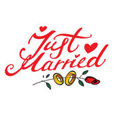Just Married - inscription for wedding postcard event golden ring heart flo — ストックベクタ