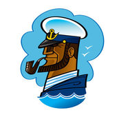 Sea Captain sailor ocean smoking pipe wave anchor — Stock Vector