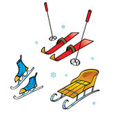 Skis Skates Sledge - winter sports and activity snow flakes — Stock Vector