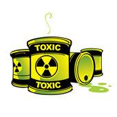 Toxic Barrels hazard radioactive poison container — Stock Vector