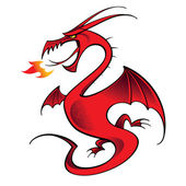 Red Dragon mythology legend beast tale fantasy animal — Stock Vector