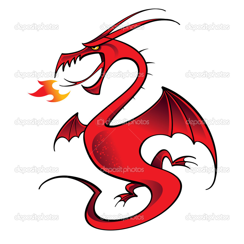 Red Dragon mythology legend beast tale fantasy animal — Stock Vector #8416445