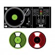 Vector DJ Turntable and Vinyl Records disco music party tune electronic dig — Imagen vectorial