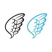 Vektor illustration av fågel vinge vita fjädrar dove swan angel kyckling höna — Stockvektor