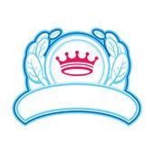 Vector Crown and dove chicken swan Feathers heraldic banner or logotype — Stock Vector