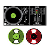 Vector DJ Turntable and Vinyl Records disco music party tune electronic dig — Stock Vector