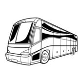 Big vector black and white transport tourist Bus car travel — Stock Vector