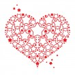 Love symbol red Heart with stars decorative element Valentines day postcard — Stock Vector