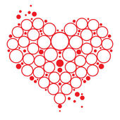 Love symbol red Heart with bubbles decorative element Valentines day postc — Stock Vector