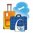 Luggage suitcase bag airport travel sky clouds flight arrival — Stock Vector