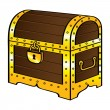 Trunk chest gold treasure wood old vintage pirate lock - Stock Vector