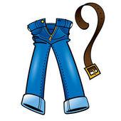 джинсовая хлопок джинсы мода кожаный пояс износа покупки — Cтоковый вектор