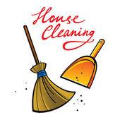 House Cleaning broom brush dust dirt service shovel — Stock Vector