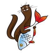Polecat ermine fur hunter food catch fish cell animal fauna — Stock Vector