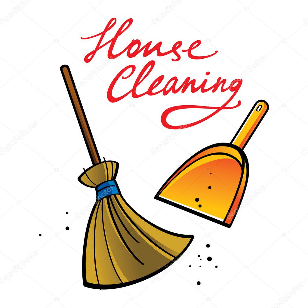 House cleaning broom brush dust dirt service shovel for House cleaning stock photos