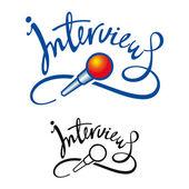 Intervista microfono notizie giornale reporter televisivo talk — Vettoriale Stock