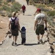 Family hiking in Arches National Park — Stock Photo