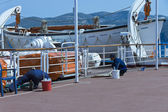Workmen of cruise ship — Stock Photo