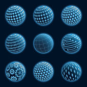 蓝色星球的图标集。矢量插画. — 图库矢量图片