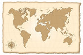 An old map of the world. Vector illustration. — Stock Vector