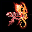 Burning dragon and 2012 year isolated — Stock Photo #8060500